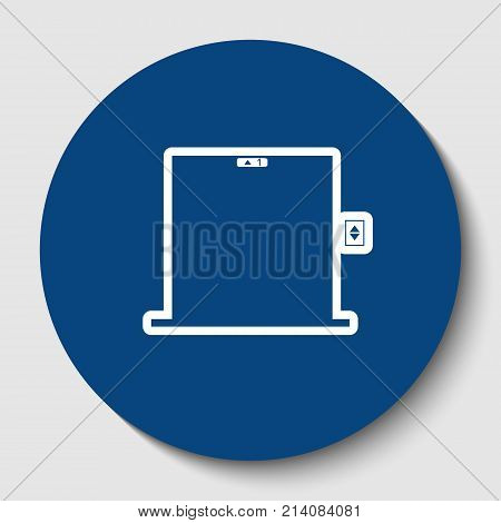 Elevators door sign. Vector. White contour icon in dark cerulean circle at white background. Isolated.
