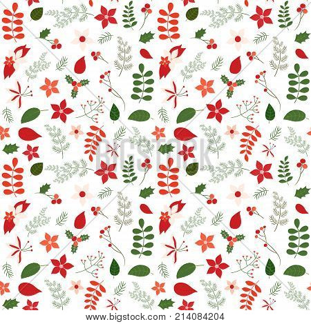 Holiday seamless vector pattern with leaves and flowers in green and red colors for Christmas designs backgrounds and wrapping paper
