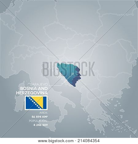 Bosnia and Herzegovina 3d map with information of area and population of the country.