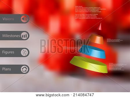3D illustration infographic template with motif of cone divided to four color parts askew arranged with simple sign and sample text on side in bars. Blurred photo is used as background.