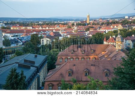Bamberg cityscape at sunset in Bavaria, Germany