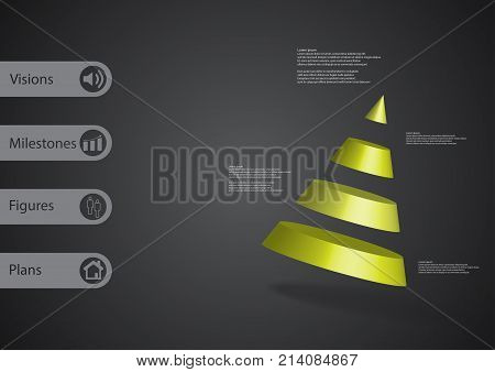 3D Illustration Infographic Template With Cone Divided To Four Parts Askew Arranged