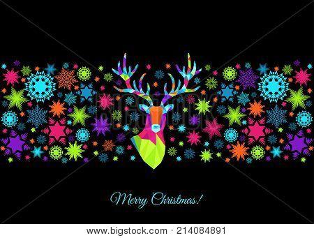 Polygonal Xmas  Reindeer  Head And  Snowflakes.