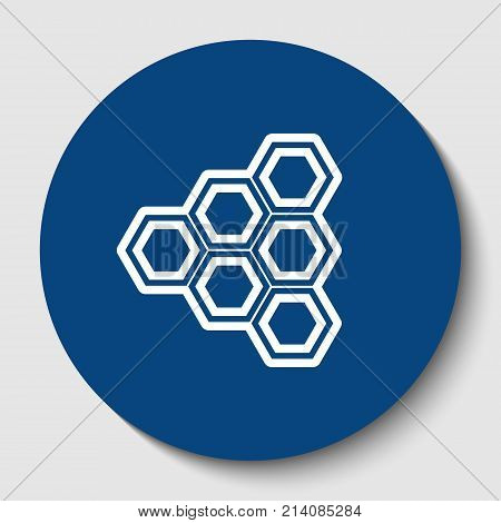 Honeycomb sign. Vector. White contour icon in dark cerulean circle at white background. Isolated.
