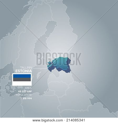 Estonia 3d map with information of area and population of the country.