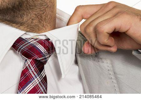 man bursts the collar