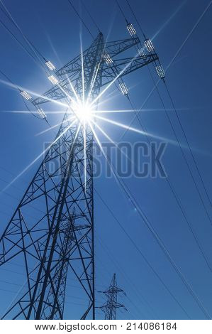 electricity pylon in backlight