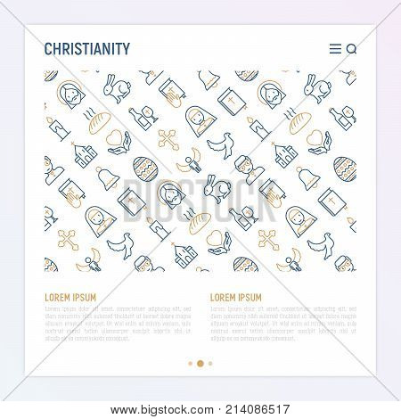 Christianity concept with thin line icons of priest, church, nun, crucifixion, Jesus, bible, dove. Vector illustration for banner, web page, print media.