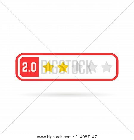 negative feedback frame like two stars. concept of web blog ui no satisfaction, red mobile application, classify test form, estimate class. flat style trend logotype graphic design on white background