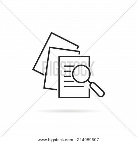 business scrutiny assess with glass. concept of plan, success proven, verify service, critique process and investment risk. flat logotype annual quiz examination graphic art design on white background