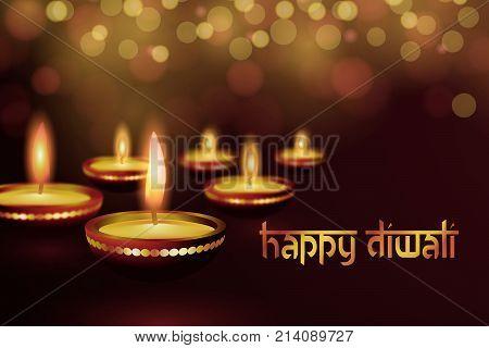 Beautiful Greeting Card For Hindu Community Festival Diwali Happy Diwali Festival Background Illustr