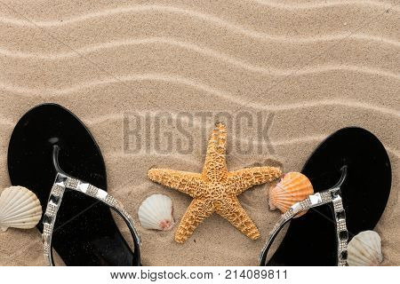 Beach fashion black flip-flops and starfish standing in the sand beach. With space for your project