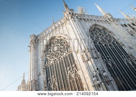 Gothic building with statues against the sky Italy duomo