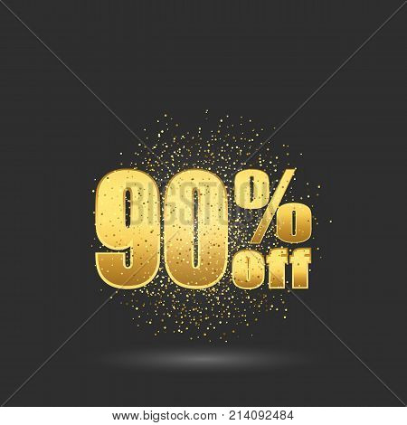 Gold sale 90 percent. Golden sale 90 percent on gold background. Shine salling background for flyer, poster, shopping, , discount, selling, banner web