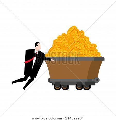 Miner And Trolley Of Bitcoins. Mining Extraction Of Crypto Currency. Businessman And Trolley. Vector