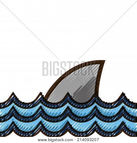 grated nature ocean waves with shark animal vector illustration