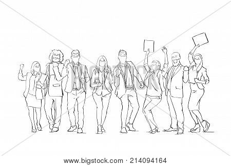 Cheerful Silhouette Business People Group Sketch Happy Businesspeople Team With Raised Hands On White Background Vector Illustration