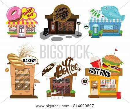 Set of shops. A collection of small cartoon shops with a sign. Stylized trade counters.