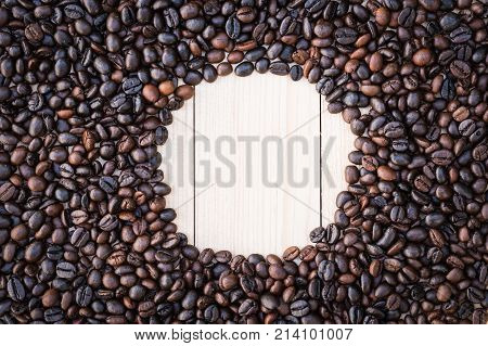 Circle Inside Coffee Beans Background