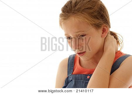 young girl in pain