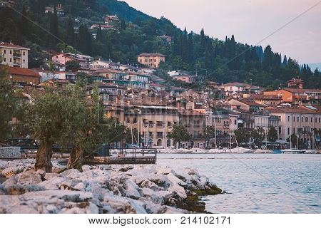 Lake Garda Overlooking The Town Of Salo. Italy