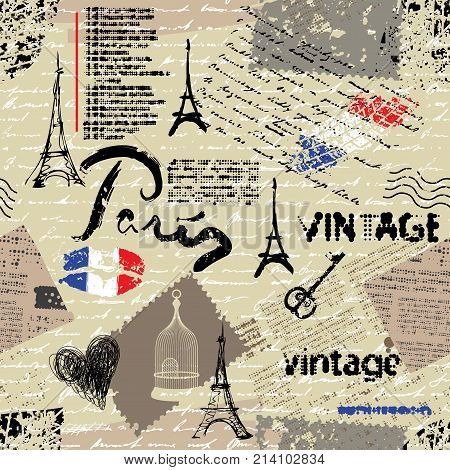 Seamless background pattern. Imitation of a vintage scrapbook collage with a Paris lettering.