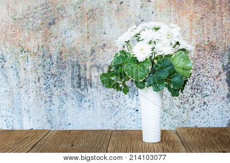 White Chrysanthemums On A  Wooden Floor