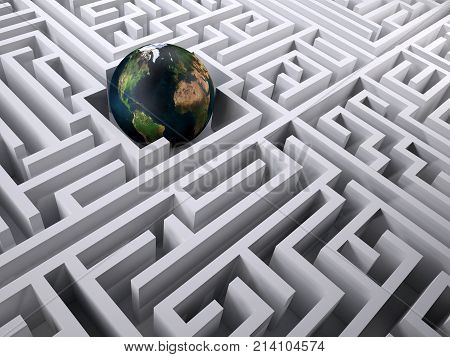 Planet Earth In The Labyrinth Maze