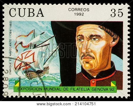Moscow Russia - November 15 2017: A stamp printed in Cuba shows Duke of Viseu (Henry the Navigator 1394-1460) - a Portugal navigator series