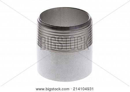 Stainless steel the threaded spigot fitting is isolated on white background.