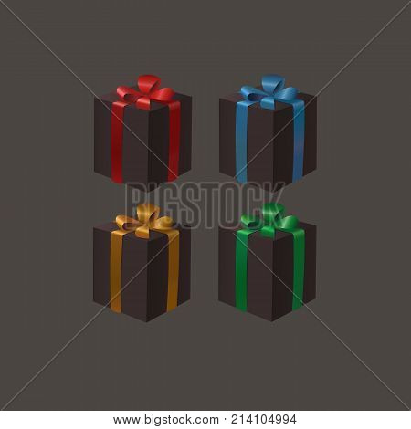 Set of black gift boxes with a gold, red, blue, green ribbon bows on a dark background. Black friday cyber monday eps10 isolated vector illustration