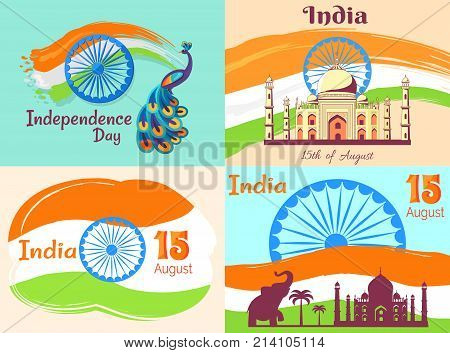 15 August Independence Day in India posters with national flag and country animalistic and architectural symbols vector illustrations.