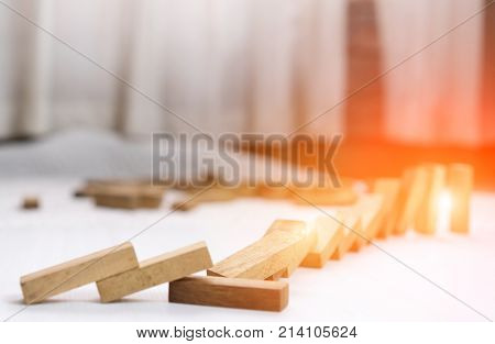 Wooden block step crash failure and risk on business and drape change choice business risking dangerous project plan failure construction