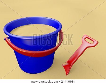 Bucket, shovel and sand