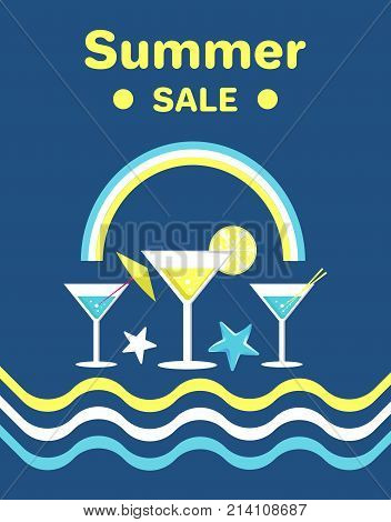 Summer sale poster with martini glasses with umbrella, orange slices and wavy lines vector illustration with rainbow isolated on blue background