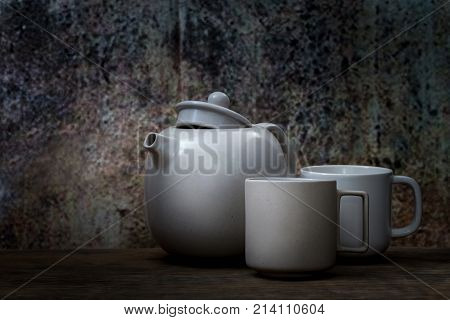 Still Life Style Of Ceramic Cup And Pot