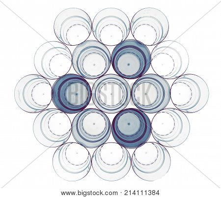Abstract shapes of plastic glasses. Hexagon rounded shape. With dark blue cups insertion. Glasses for beverages: alcohol and non-alcohol.