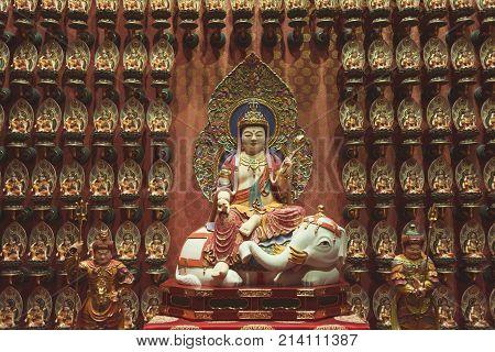 Samantabhadra Bodhisattva statue from famous Buddha Tooth Relic Temple Singapore