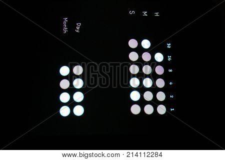 Innovation Electronic Watch Clock Screen Data Controls Background. Macro Closeup.