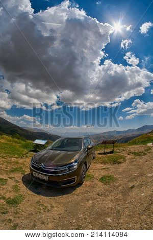 SELIM PASS, ARMENIA - 01 AUGUST 2017: Citroen Car with Selim Pass Gorge of Armenia in Background
