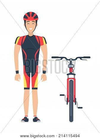 Vector illustration of red bicycle and smiling sportsman dressed in cycling clothing including helm and wristbands isolated icons on white.