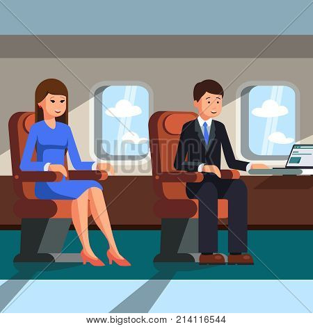 Two businessmen, a man and a woman are sitting in the cabin of the plane near the porthole. The concept of business flights. Vector illustration.