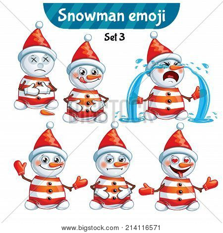 Set kit collection sticker emoji emoticon emotion vector isolated illustration happy character sweet, cute snowman