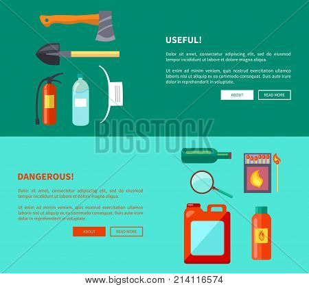 Useful and dangerous fire-related objects set of posters. Vector illustration of hatchet, shovel extinguisher, water bottle, matches box and magnifier