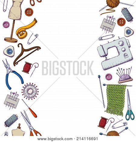 Seamless vertical borders of tools for needlework and sewing. Handmade equipment and needlework accessoriesy colorful sketch illustration. Vector