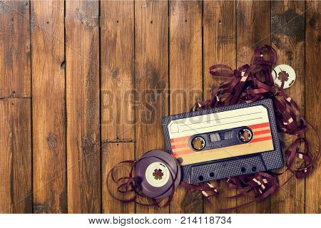 Tape cassette background design isolated transparent box