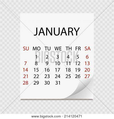 Monthly Calendar 2018 With Page Curl. Tear-off Calendar For January. White Background. Vector Illust
