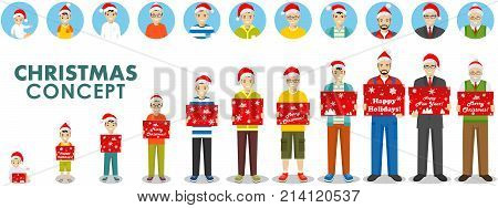 All age group of man family. Generations man. People generations at different ages hold the box in the Santa Claus hat hat isolated on white background in flat style. Stages of development people - infancy, childhood, youth, maturity, old age. Vector