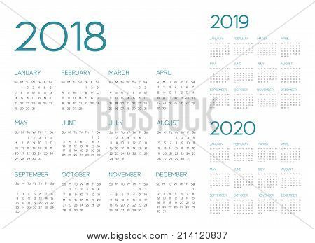English Calendar 2018-2019-2020 vector text is outline font is armata