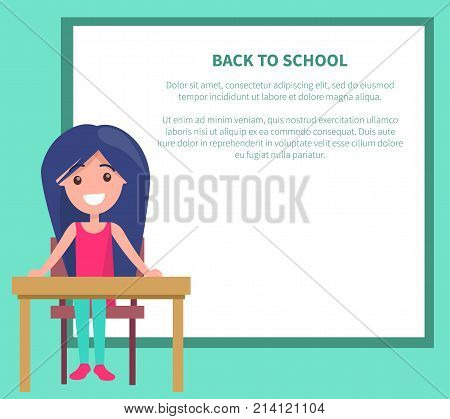 Back to school poster with smiling youngster sitting at empty table, vector illustration with schoolgirl at desk on background with place for text
